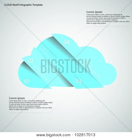 Infographic Template With Cloud Divided To Four Parts On Light
