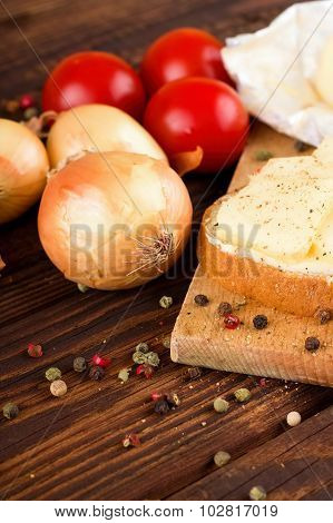 Color Pepper Around Vegetable And Bread With Romadur Cheese