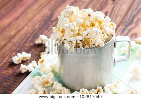 Heap Of Popcorn In Aluminum Cup