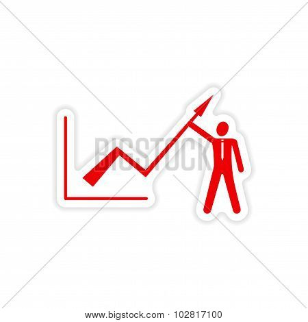 stylish sticker on paper Economic graph and people