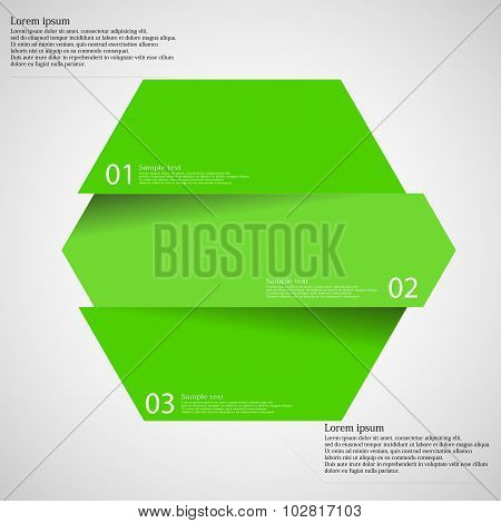 Infographic Template With Hexagon Divided To Three Parts On Light