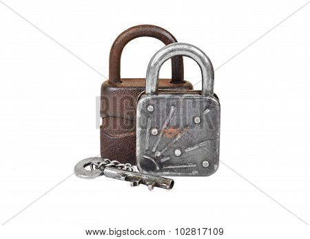 Vintage rusty lock and key