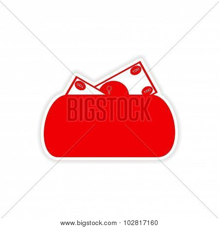 stylish sticker on paper purse and money