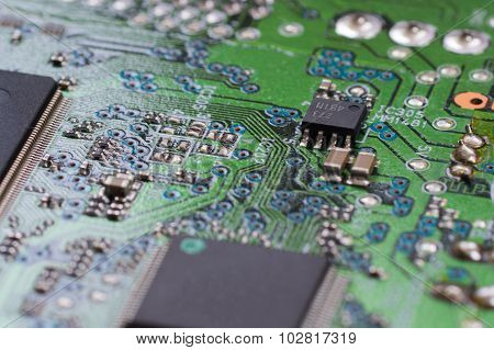 Closeup Electronic Board With Small Depth Of Field