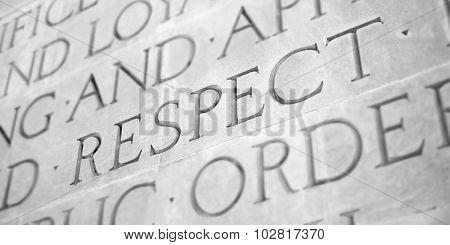Word Carved in Stone Granite Respect