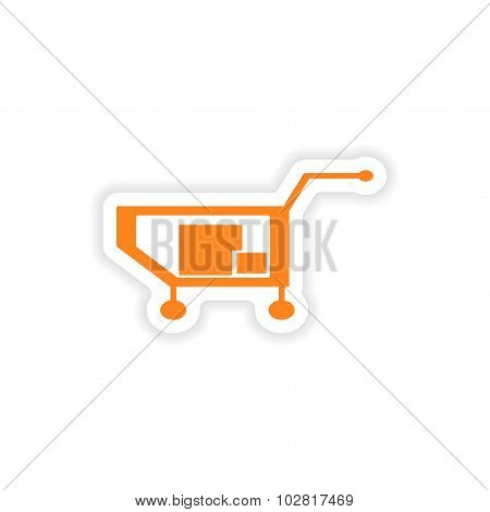 icon sticker realistic design on paper truck boxes