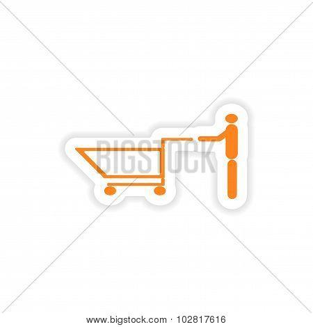 icon sticker realistic design on paper man trolley