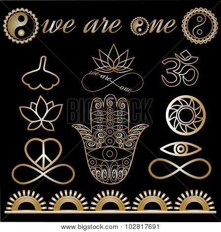 Yoga Tattoo Set Gold And Black Yoga Logo Yoga Icons Mystic