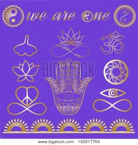 Mystic spiritual symbols, Yoga logo, yoga icons, gold lines tattoo set