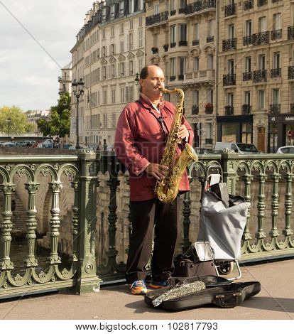 The street musician near Notre Dame cathedral.