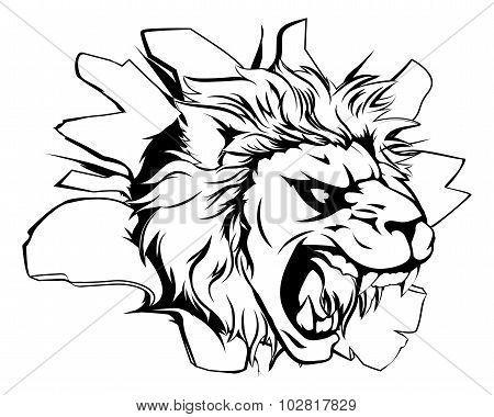 Lion Mascot Breaking Through Wall