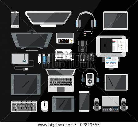 Set of  various hi-tech computer, communication and other modern technology devices. Computer, laptop, monitor, tablet, camera, headphones, mouse, usb isolated on black backround. Office equipment.