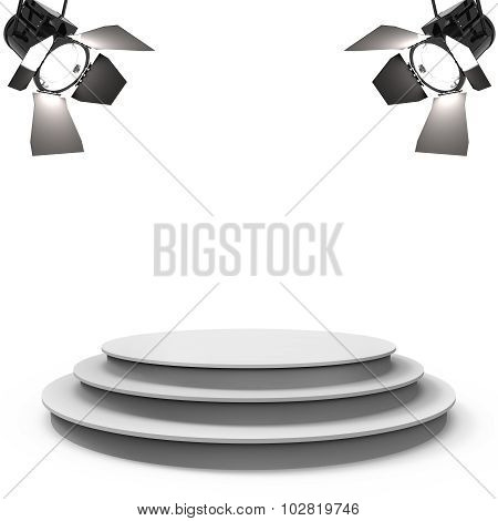 White Empty Stage With Two Spotlights