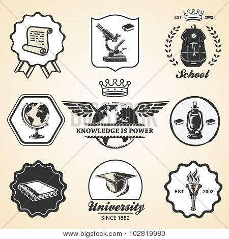 Education school academy university vintage symbol emblem label collection
