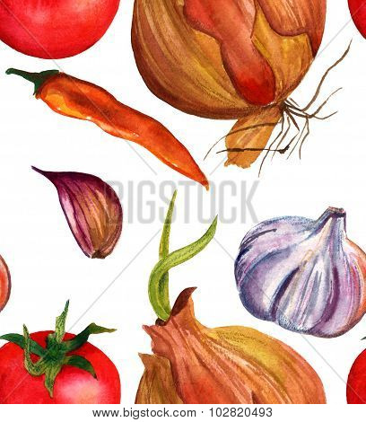 Seamless watercolor vegetables (tomato, onion, garlic and chilli pepper) background pattern