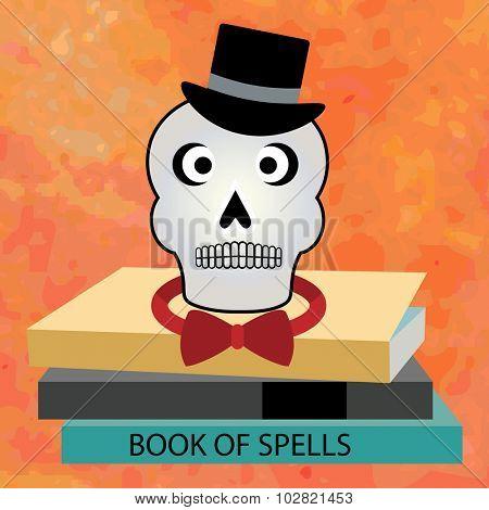 Skull over book of spells  Halloween