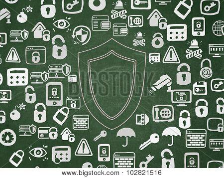 Privacy concept: Shield on School Board background