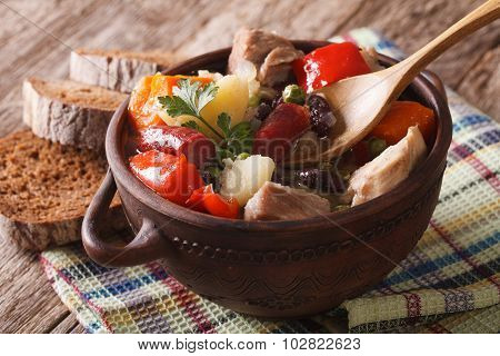 Eintopf Thick Soup With Meat And Vegetables Close-up. Horizontal
