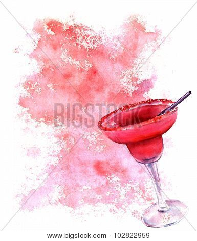 Watercolour drawing of a strawberry Margarita cocktail on a textured background