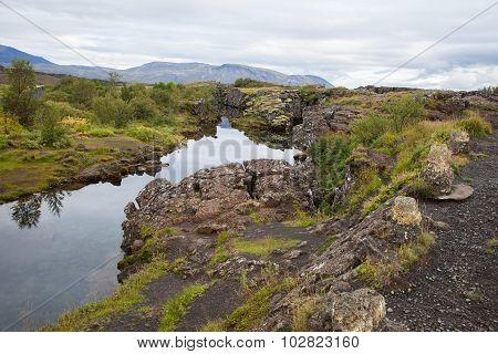 Crack in the lava at Pingvellir, Iceland