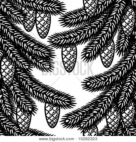 Seamless spruce background black and white