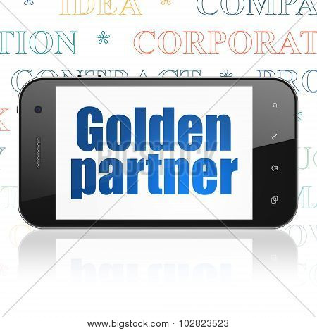 Finance concept: Smartphone with Golden Partner on display