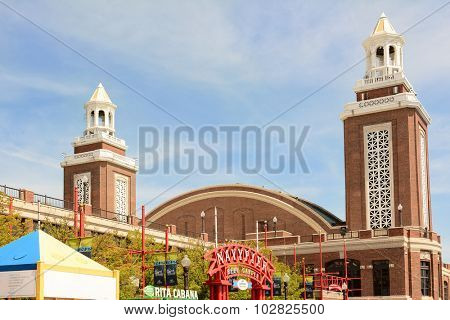 CHICAGO, ILLINOIS - AUGUST 22, 2015: Navy Pier Auditorium. Designed by Charles Summer Frost and built in 1916 with a 100 foot high half-domed ceiling.