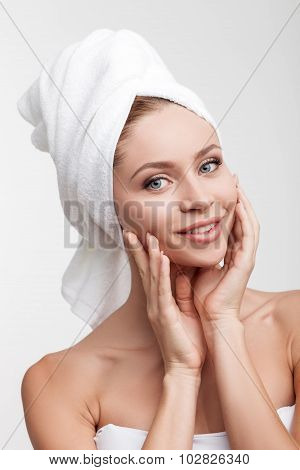 Cheerful healthy woman is resting after washing