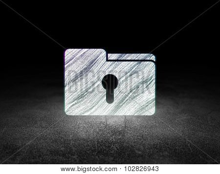 Business concept: Folder With Keyhole in grunge dark room