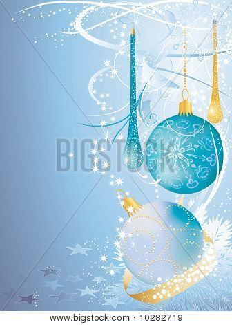 Christmas Blue And Gold Card