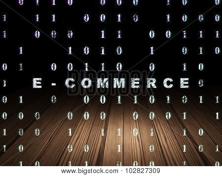 Business concept: E-commerce in grunge dark room