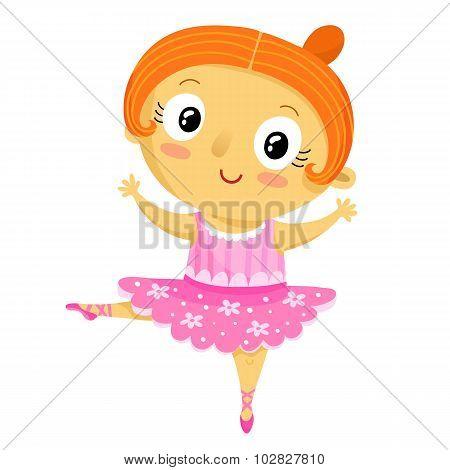 Girl Ballerina, Cartoon Character Isolated On White