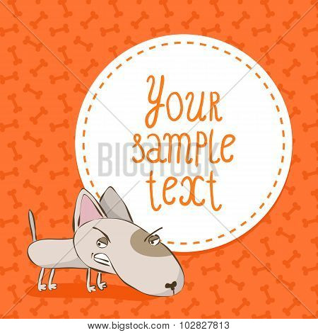 Card Background With Bull Terrier