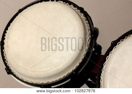 Selective Focus Bongo Drum And Blur Background.