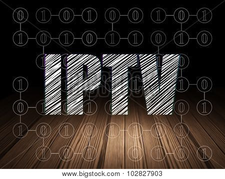 Web development concept: IPTV in grunge dark room