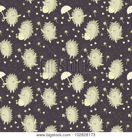 Pattern With Hedgehog And Dandelions