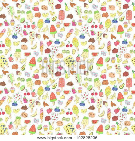 Doodle Ice Cream, Fruits, Berry, Sweets Pattern