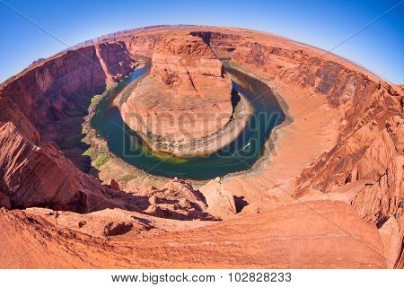 Fisheye view of Horse shoe canyon Colorado river