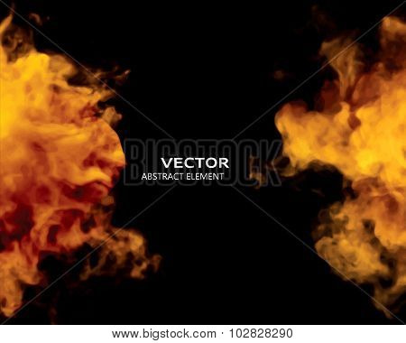 Vector Illustration Of Fire Elements On Black.