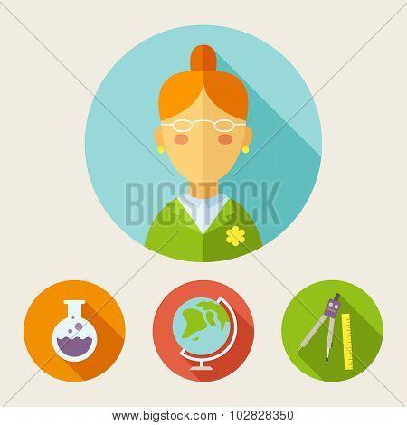 Set Of Flat Style Icons. Teacher, Bulb, Globe, Divider, Ruler