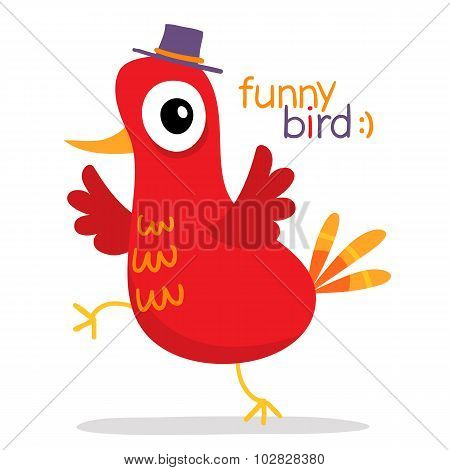 Red Bird In Hat In Cartoon Style, Isolated On White