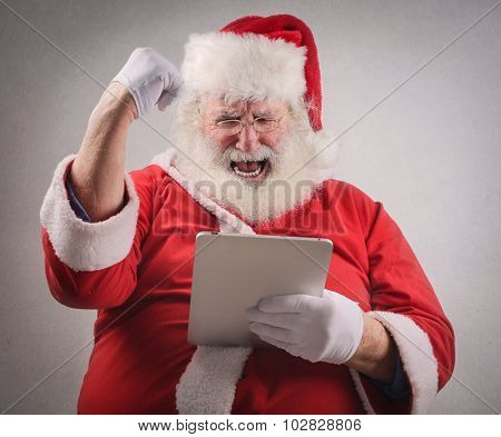 Santa Claus exulting for some reason