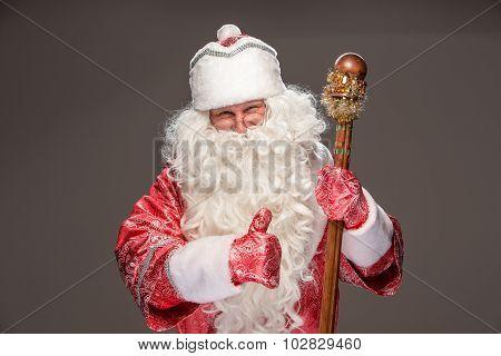 happy Santa Claus looking at camera