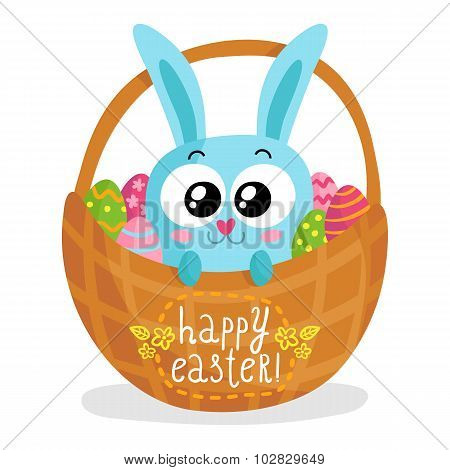 Easter Greeting Card With Bunny In Basket