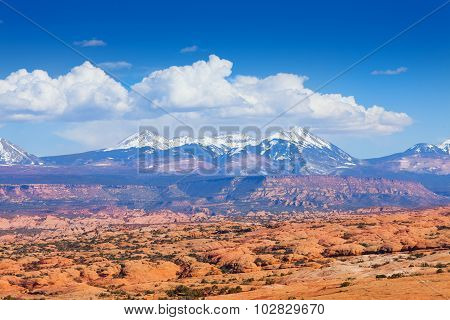 View of Mt Waas and Arches park plateau