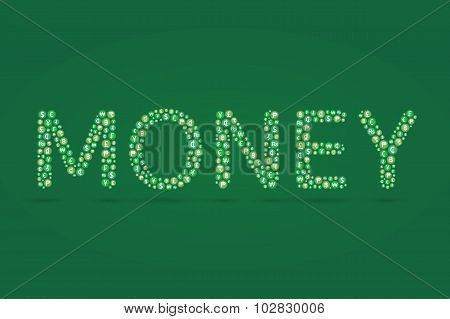 Money Word And Currency Symbol Inside