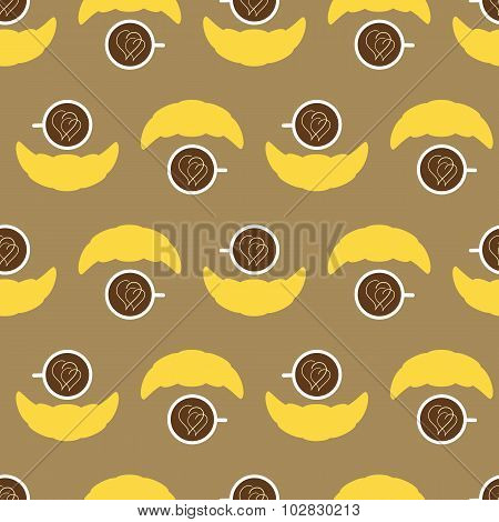Pattern With Coffee Cup And Croissant