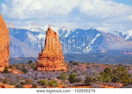 View of Mt Waas and Arches park plateau in summer