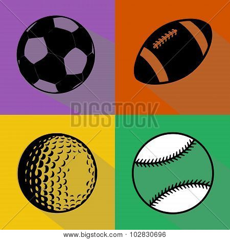 Black Sport Balls Vector Set