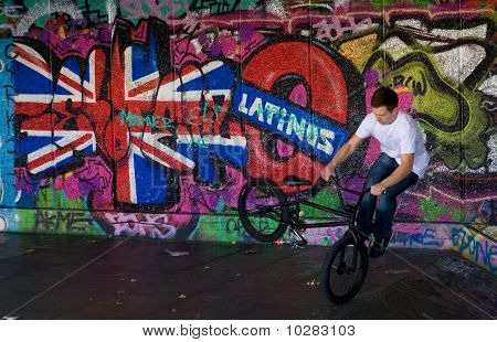 Trick cyclist at London Skate Park